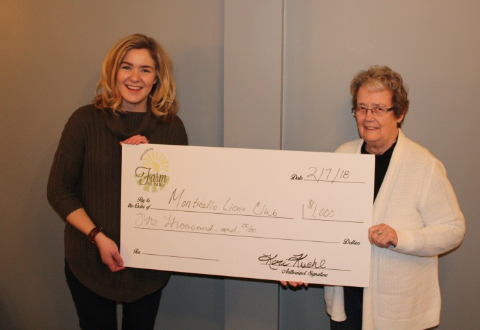 One of the organizations presented with part of the proceeds from the 2017 Wisconsin Farm to Table dinner event was the Monticello Lions Club.